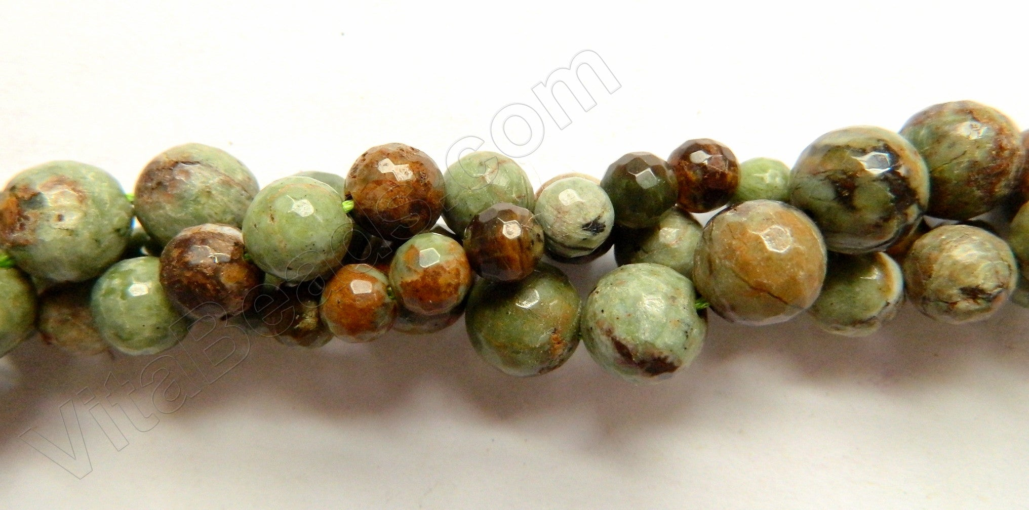 Green Opal  -  Faceted Round Beads 16""