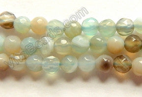 Light Green Amazonite Agate w/ Brown  -  4mm Faceted Round  15""