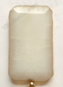 Faceted Rectangle Pendant - White Jade w/ Gold Trim