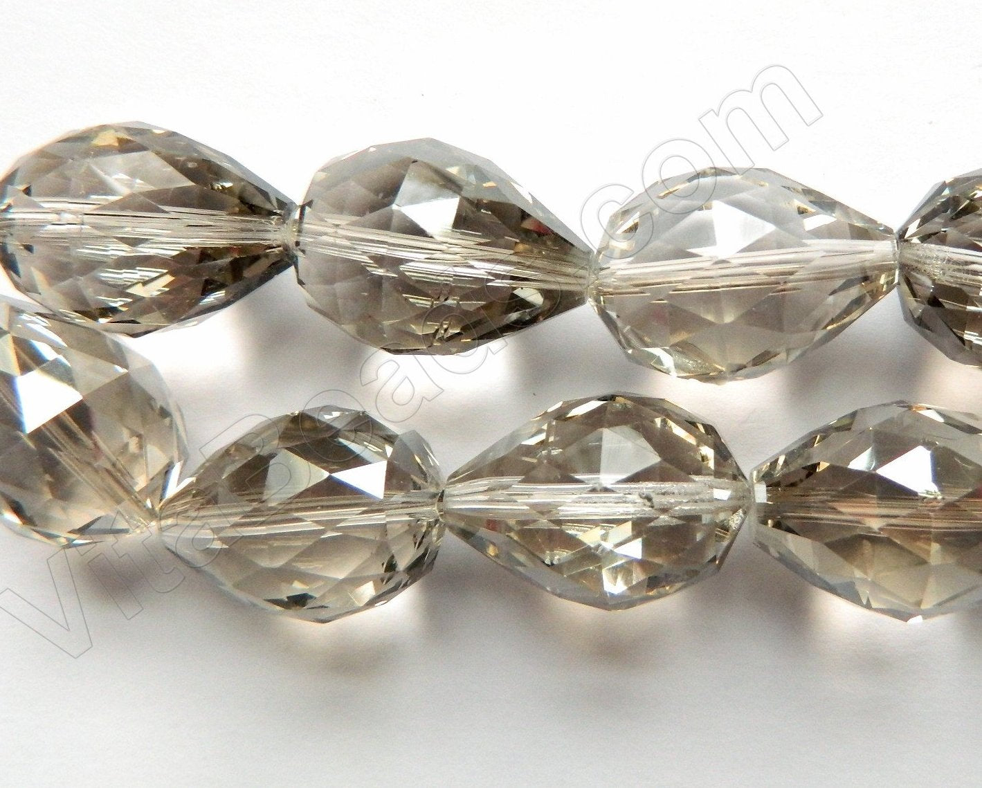 Mystic Smoky Crystal Quartz  -  Drilled Through Faceted Drop 8""