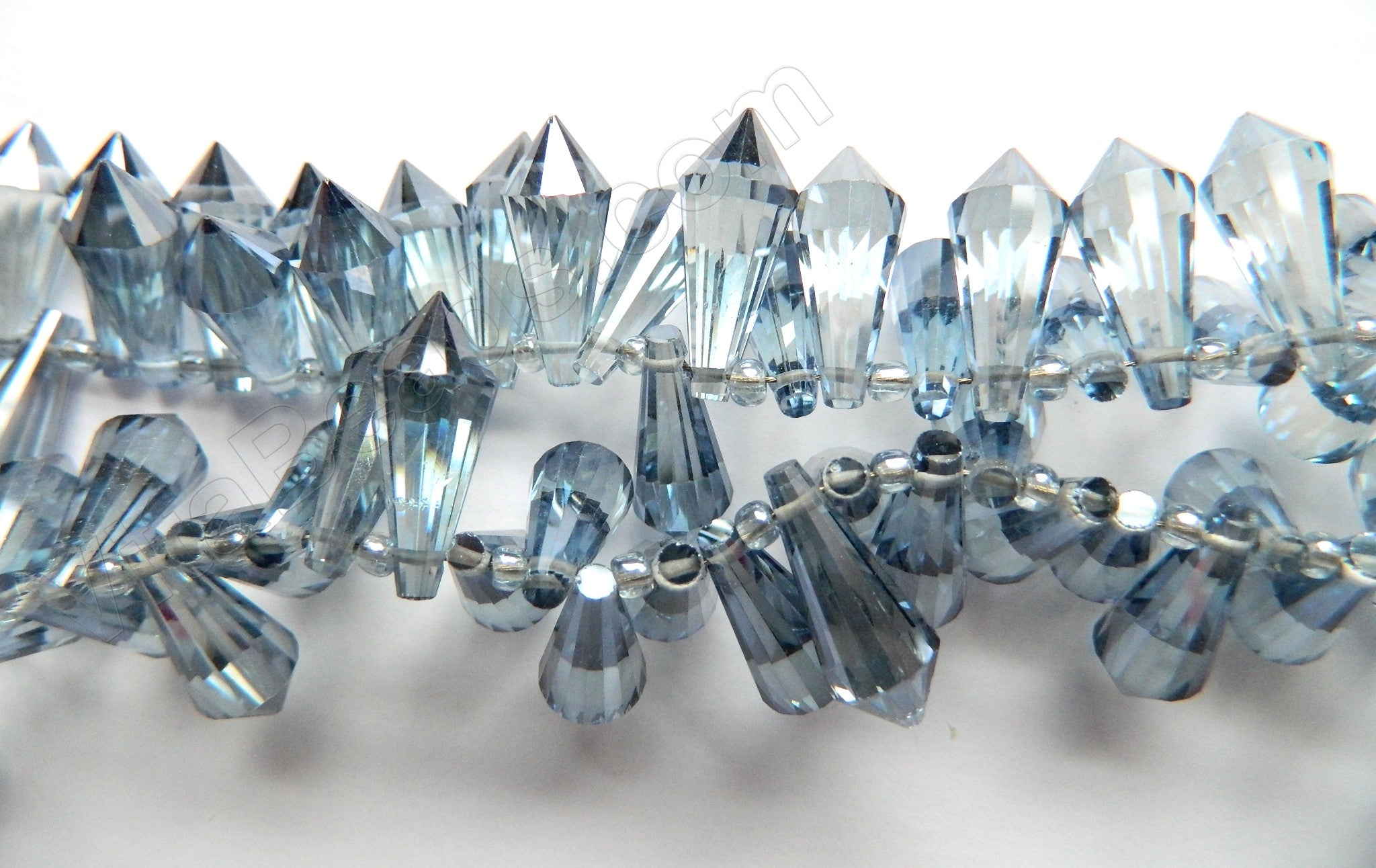 Light Blue Crystal Quartz - 8x20mm Faceted Pendulum Top Drilled 8""