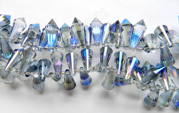 Light Blue Peacock Crystal Quartz - 8x20mm Faceted Pendulum Top Drilled 8""