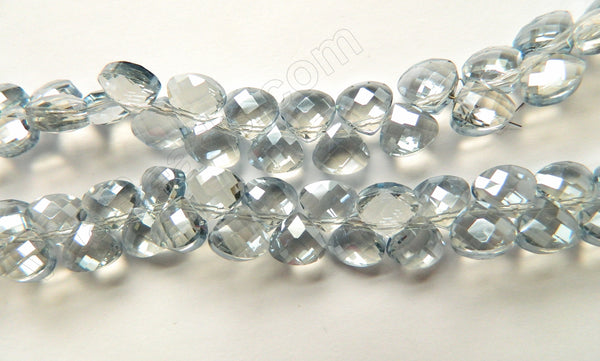 Grey Crystal Quartz  -  13mm Faceted Flat Briolette