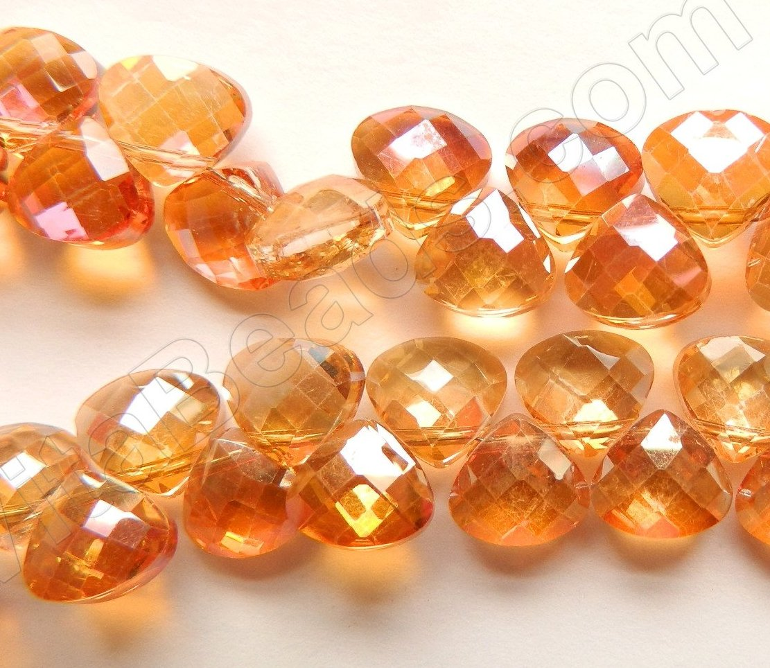 Amber Crystal Quartz AB Coated -  Faceted Flat Briolette  16""