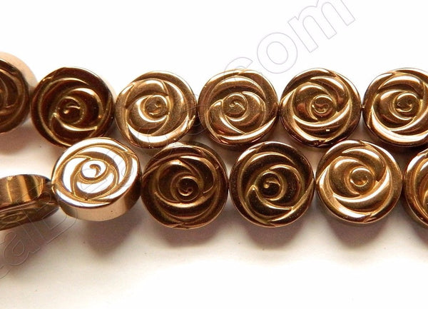 "Bronze Plated Hematite  -  Carved Rose Coin Strand  16""    10 x 10 x 3 mm"