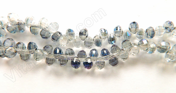 Mystic Blue Peacock w/ Clear Crystal  -  5x6mm Top Drilled Faceted Rondels 13""
