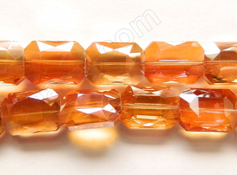 Dark Amber AB Coated Crystal  -  Faceted Rectangles  14""