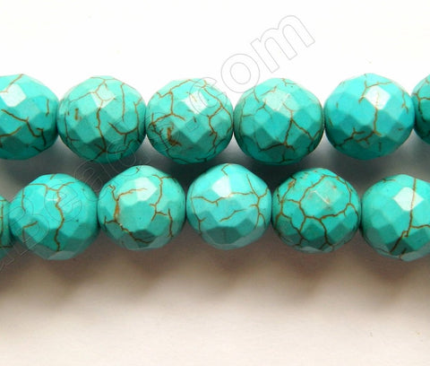 Blue Green Turquoise w/ Brown Matrix  -  Faceted Round  16""