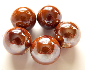 Porcelain Beads - Brown Coated, Plated -  20mm Big Smooth Round Beads 5pc