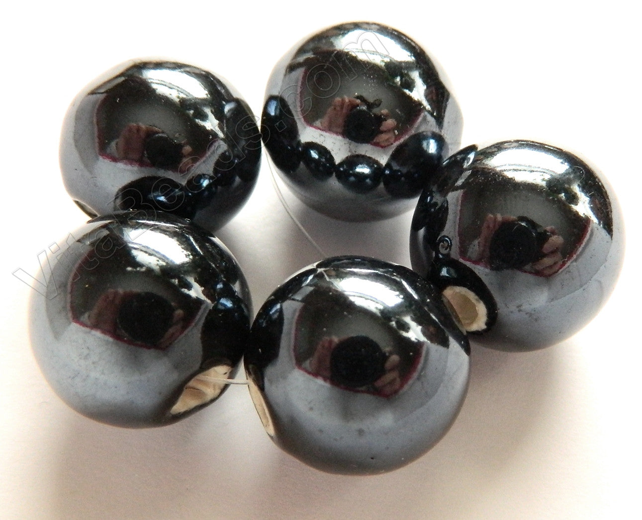 Porcelain Beads - Metallic Grey Coated Plated -  18mm Big Smooth Round Beads  5pc