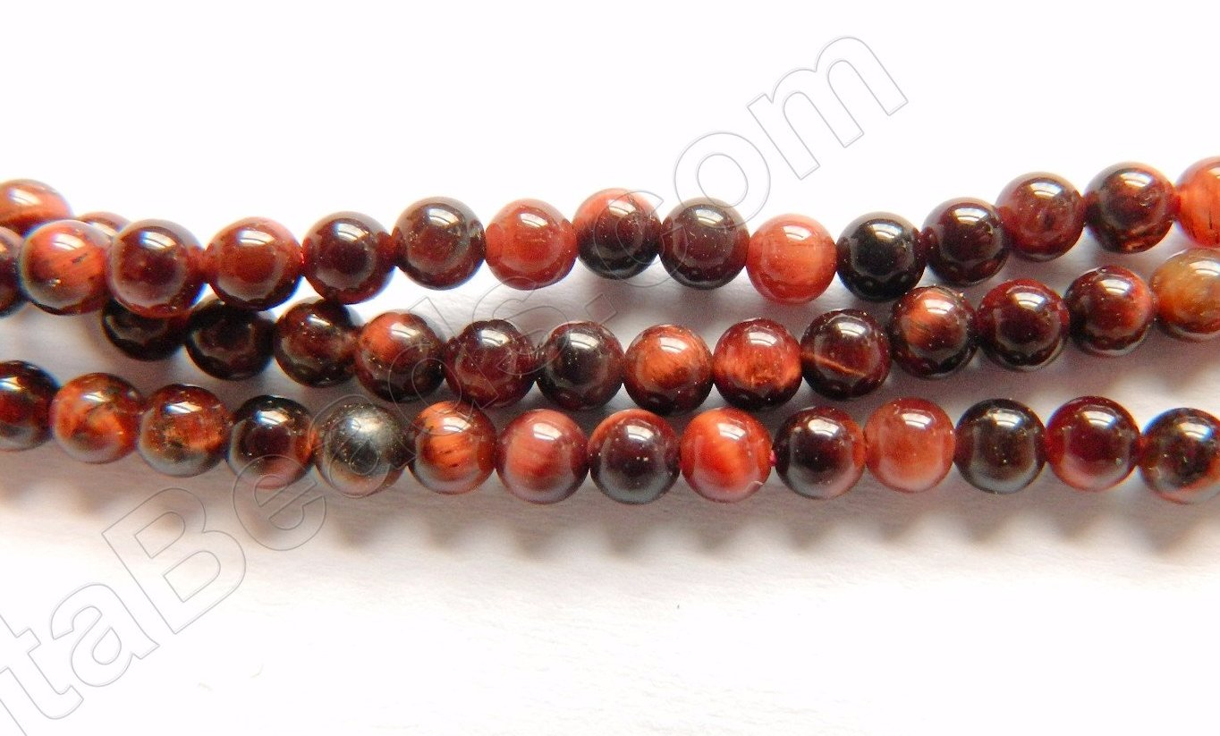 "Red Tiger Eye AA   -   Small Smooth Round  16""    3mm"