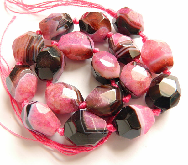 Fuchsia Black Sardonix Agate w/ Qtz  -  Machine Cut Nuggets 16""