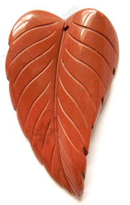 Red Jasper  -  Carved Long Leaf Pendant