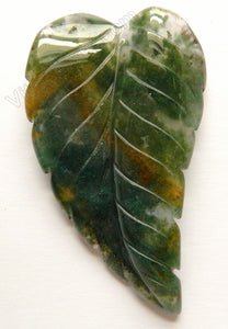 Fancy Jasper Green  -  Carved Long Leaf Pendant