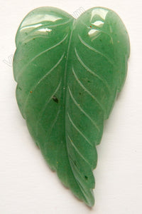 Green Aventurine Dark  -  Carved Long Leaf Pendant