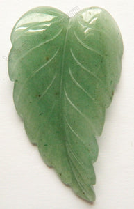 Green Aventurine Light - Carved Long Leaf Pendant