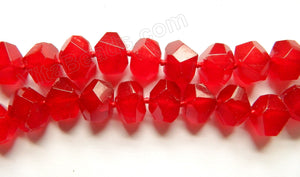 "Bright Red Jade  -  Machine Cut Center Drilled Nuggets 16""    13 x 16 x 12 mm"