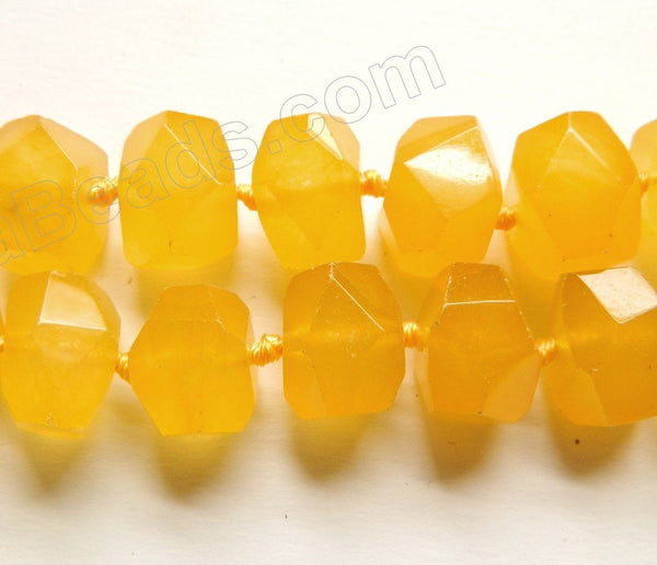 "Yellow Jade  -  Machine Cut Center Drilled Nuggets 16""    13 x 16 x 12 mm"