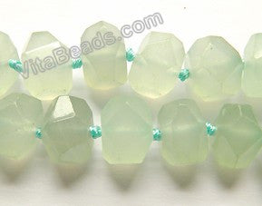 "Light Green Jade  -  Machine Cut Center Drilled Nuggets 16""    13 x 16 x 12 mm"