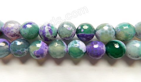Purple Green Mixed Fire Agate  -  Faceted Round 14""