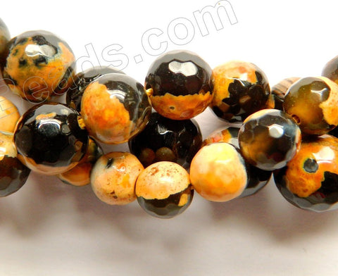 Orange Black Mixed Fire Agate  -  Faceted Round  14""