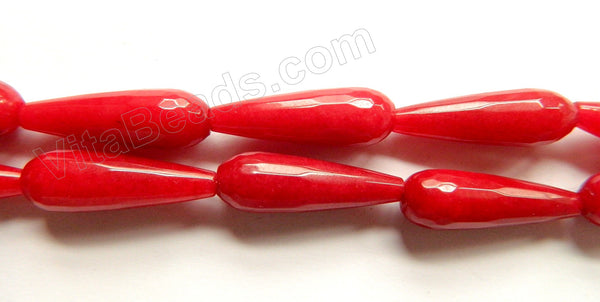 Dark X-mas Red Jade  -  10x30mm Faceted Drops 16""