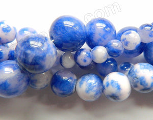 Sapphire White Candy Jade  -  Smooth Round Beads  16""