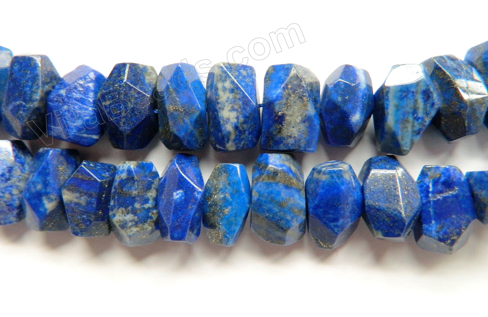 "Snow Lapis Lazuli AA  -  Center Drilled Fine Cut Nuggets 16""    12 x 18 x 10 mm"
