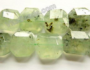 "Prehnite AA  -  Irregular Machine Cut Squares, Irregular Faceted Square  16""    20 - 22 mm"
