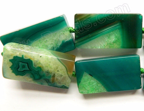 Green Sardonix Agate w/ Quartz  -  Big Brick Flat Rectangle Strand  16""