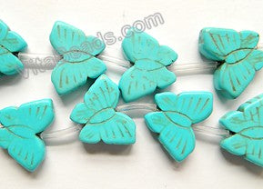 Blue Cracked Turquoise  -  Carved Butterfly Strand  16""