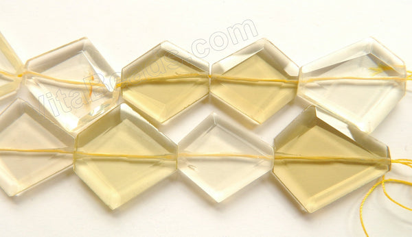 Lemon Quartz Natural  -  Big Faceted Diamond Irregular Flat  16""