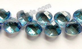 Mystic London Blue Crystal Quartz  -  13mm Faceted Flat Briolette