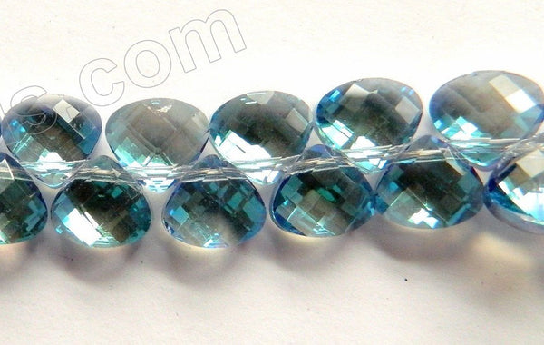 Mystic London Blue Crystal Quartz  -  Faceted Flat Briolette  16""
