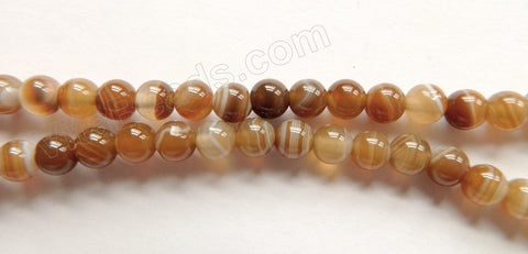 Brown Madagascar Agate AA  -  Smooth Round Beads  16""