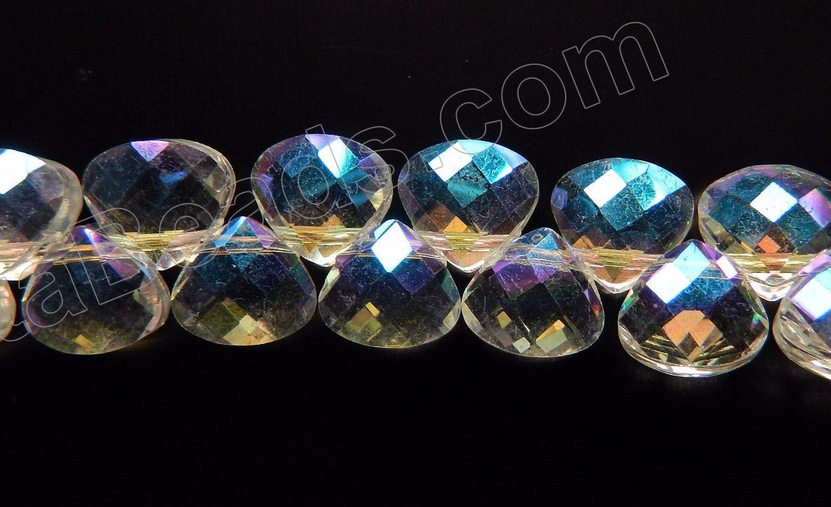AB Clear Crystal Quartz  -  Faceted Flat Briolette  16""