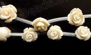 Ivory Turquoise Stone  -  Carved Rose Bulb Strand  16""