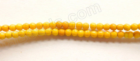 "Yellow Turquoise  -  Small Smooth Round Beads  16""     2.5 mm"