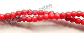 "Red Turquoise  -  Small Smooth Round Beads  16""     2.5 mm"