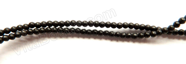 "Black Turquoise  -  Small Smooth Round Beads  16""     2.5 mm"