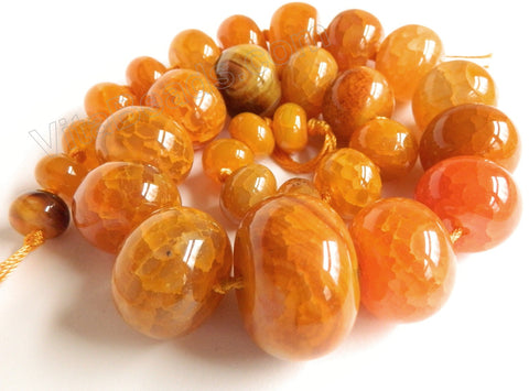 "Orange Fire Agate  -  Graduated Smooth Drums 18""   7 x 12 mm to 20 x 30 mm"