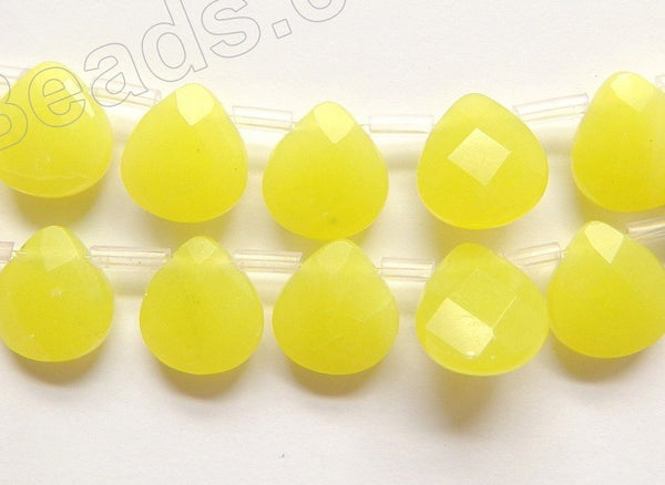Olive Jade A  -  11x12x5mm Faceted Flat Briolette  16""