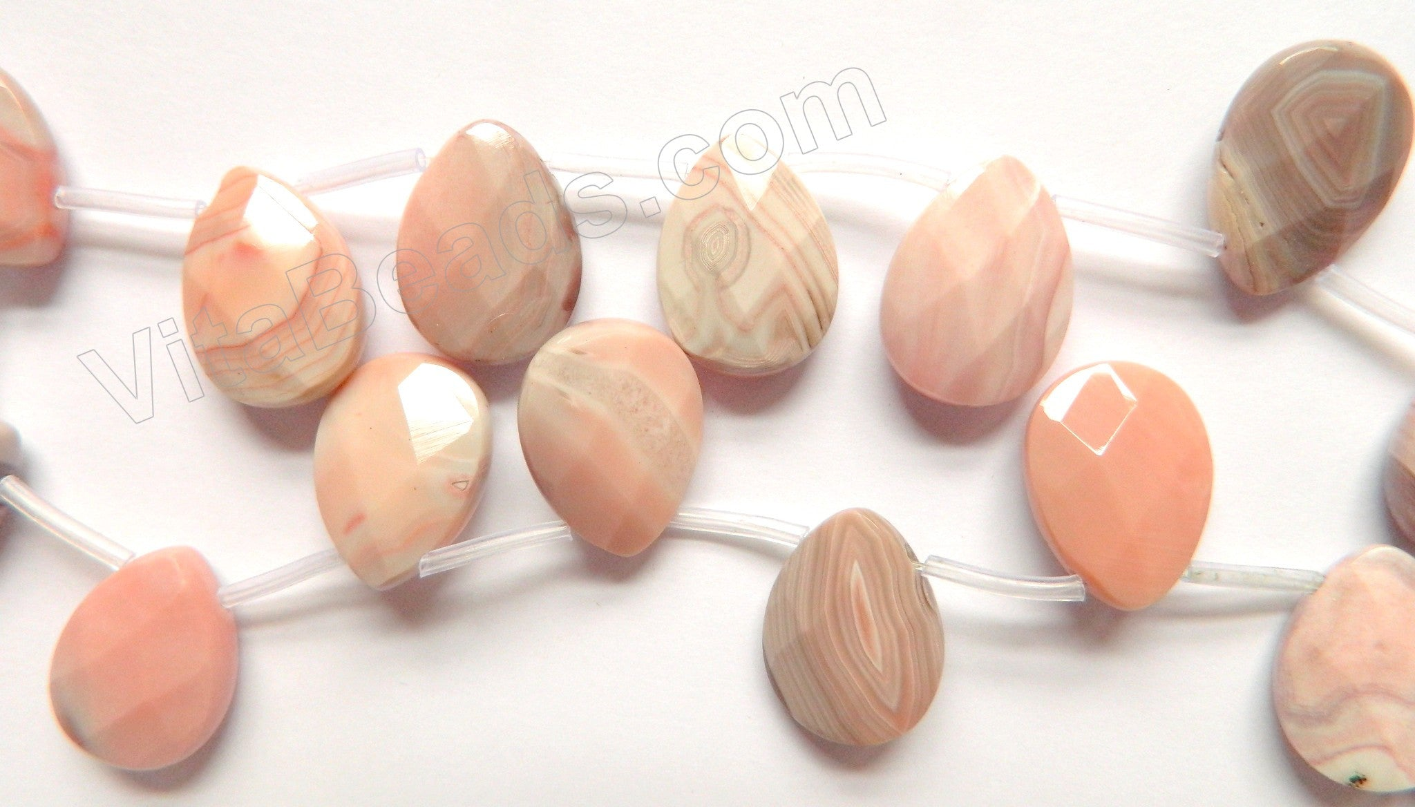 Peach Botswana Agate  -  12x18mm Faceted Flat Briolette  16""