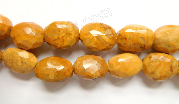 Yellow Brazilian Agate Dark  -  Faceted Tumble  16""