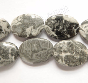 Black White Jasper  -  Puff Ovals  16""