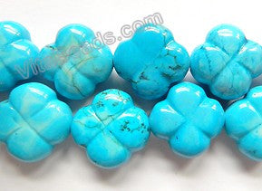 "Deep Blue Stablelized Turquoise  -  Carved 4 Petal Flower Strand  16""    25 x 25 x 10 mm"
