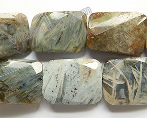 Grey Bamboo Leaf Jasper  -  Big Twist Faceted Rectangle  12""