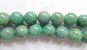 Russia Amazonite Light  -  Big Smooth Round Beads  16""