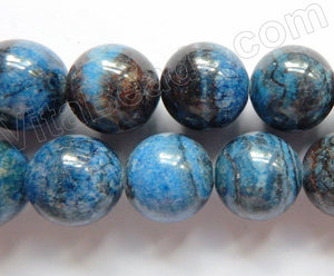Dyed Blue Zebra Jasper  -  Big Smooth Round Beads  16""