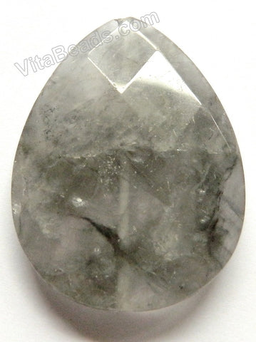 Faceted Pendant - Briolette - Grey Quartz Dark
